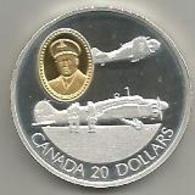 Canada, 20 Dollari Ag. Proof 1990, Aerei Anson E Harward, In Confezione Originale Di Zecca, Con Certificato. Mint Box. - Canada
