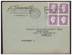 DULAC N° 689 En Bloc De 4  Sur Lettre De MARSEILLE Pour LONDRES Du5.9.45. - France