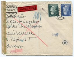 RC 11836 ALLEMAGNE IIIe REICH 1944 LETTRE CENSURÉE POUR LA SUISSE TB - Covers & Documents
