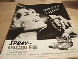 ANCIENNE PUBLICITE SPRAY DE RICQLES  1965 - Affiches