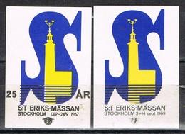 Viñeta, Label  ST. ERIKS MASSAN (Stockholm) Sverige  1967. Con Y Sin Sobrecarga * - Variedades Y Curiosidades