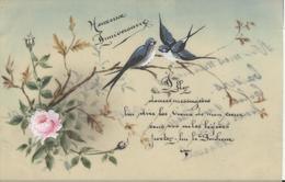 Themes Div-ref AA805- Carte Celluloide -celluloid -translucide -aquarelle - Carte Peinte A La Main-fleurs Et Hirondelles - Cartes Postales