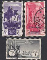 CIRENAICA 1932 - Lotto Di 3 Valori Usati Di Posta Aerea: Yvert 4, 6 E 9, Come Da Immagine. - Cirenaica