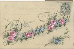 Themes Div-ref AA803- Carte Celluloide -celluloid -translucide -aquarelle-carte Peinte A La Main- Bonne Fete -fleurs - Cartes Postales