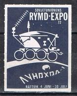 Viñeta, Label  RATTVIK (Dalarna) Suecia 1972. RYMD EXPO 72, Modulo Espacio Sovietico * - Variedades Y Curiosidades