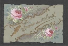 Themes Div-ref AA798- Carte Celluloide -celluloid -translucide -aquarelle-carte Peinte A La Main-souvenir 1er Avril - Cartes Postales