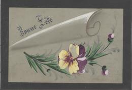 Themes Div-ref AA794- Carte Celluloide -celluloid -translucide -aquarelle-carte Peinte A La Main-fleurs - - Cartes Postales