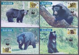 PAKISTAN 1989 - MAXIMUM CARD, W.W.F. Himalayan Black Bear, Complete Set Of 4 Cards - Pakistán