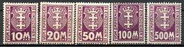 DANTZIG - (Ville Libre) - 1923 - Taxe - N° 15 à 19 - (Lot De 5 Valeurs Différentes) - Dantzig