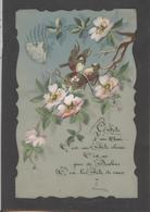 Themes Div-ref AA789- Carte Celluloide -celluloid -translucide -aquarelle-carte Peinte A La Main-nid D Oiseaux Et Fleurs - Cartes Postales