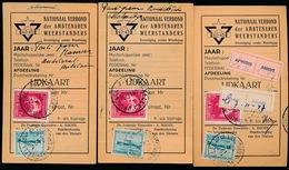 3 KAARTEN VAN WEERSTANDERS 1947  - ZIE 2 SCANS - Documenten
