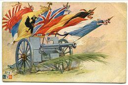 CPA Patriotique Guerre 1914 1918 * Canon Avec Drapeaux étendards France Belgique Royaume Uni ... - Guerre 1914-18