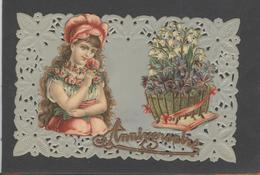 Themes Div-ref AA786-carte Celluloide -celluloid -translucide-découpis - Ajoutis - Decoupi -fleurs Et Enfant - - Cartes Postales