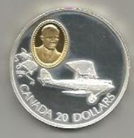 Canada, 20 Dollari Ag. Proof 1992 Aereo Gipsy Moth, In Confezione Originale Di Zecca, Con Certificato. Mint Box - Canada