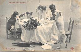 THEME BERGERET REPAS DE NOCES CHIENS A TABLE - Bergeret