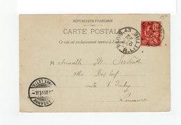 Sur Carte Postale De ¨Paris Pour Lausanne Type Mouchon 10 C. Rouge CAD Paris 43 R; Littré 1901.CAD Lausanne. (3222) - Marcophilie (Lettres)