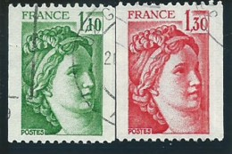 FRANCE: Obl., N°2062 Et 2063, Roulettes, TB - 1977-81 Sabine De Gandon