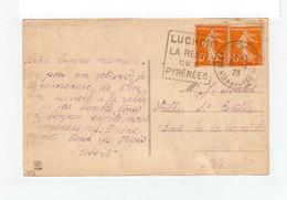 Sur Carte Postale De Luchon Paire Marianne 5 C. Orange Flamme Luchon CAD Hte Garonne 1923. (3223) - Postmark Collection (Covers)