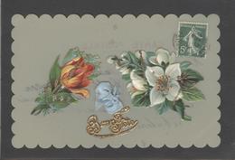 Themes Div-ref AA777-carte Celluloide - Celluloid -translucide - Découpis -ajoutis - Decoupi -fleurs Et Paillettes - - Cartes Postales