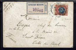 Mexique - 1909 - N° 186 Sur Enveloppe Recommandée De Mexico Pour St Brieuc (Fr) - Messico