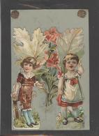Themes Div-ref AA775-carte Celluloide - Celluloid -translucide - Découpis -ajoutis - Decoupi -enfants Et Fleurs  - - Cartes Postales