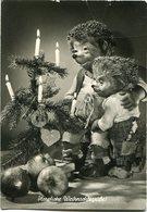 """""""HERALICHE WEIHNACHTSGRUBE!"""" MECKI FROM THE FILM """"HOR ZU!"""" DIEHL POSTAL CIRCULATED 1958  HEDGEHOG PUPPET - LILHU - Mecki"""