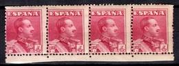 Espagne YT N° 285 En Bande De Quatre Timbres Neufs ** MNH. Gomme D'origine. B/TB. A Saisir! - 1889-1931 Royaume: Alphonse XIII