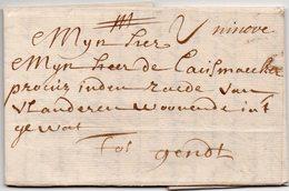 Belgique LAC - Ninove 1713 Vers GAND / GENT - Griffe Manuscrite - AA5 - 1621-1713 (Pays-Bas Espagnols)