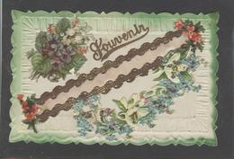 Themes Div-ref AA748- Carte Avec Decoupis -ajoutis - Decoupi - Souvenir - Fleurs - Veritables Paillettes - Dorures - - Phantasie