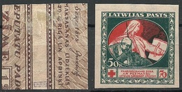 LATVIA Lettland 1921 Michel 53 X ERROR Abart Varity = Missing Green And Blue Print From Backside * - Lettland