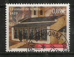 Le Conseil De La Terre, Création En 1419. Un Timbre Oblitéré, 1 ère Qualité - Andorre Français