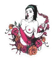 Adesivo Calcomania Sticker Tatoo Tatuaggio Sexy Beauty Donna Nudo Fiori Linguaccia Dimensioni Cm 8x6,5 Circa Forma Segue - Adesivi