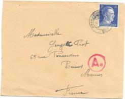 LETTRE DE PRISONNIER...guerre De 1940..CACHET BLEU FRANKFURST.... POUR REIMS.... - Postmark Collection (Covers)