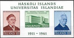 1961 Iceland Island Mi. Bl 3 **MNH  50 Jahre Universität Von Island. - 1944-... Republique