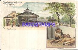 108397 GERMANY GRUSS AUS HAMBURG ART ZOO GARDEN & LION MULTI VIEW BREAK POSTAL POSTCARD - Non Classés