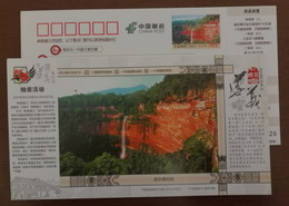 Chishui Danxia Grand Waterfall In Foguangyan Scenic Spot,China 2017 Beautiful Zunyi Landscape Advert Pre-stamped Card - Holidays & Tourism