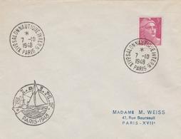OBLIT. TEMPORAIRE SALON NAUTIQUE PARIS 10/48 - Postmark Collection (Covers)