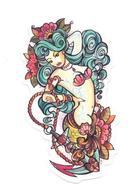 Adesivo Calcomania Sticker Tatoo Tatuaggio Sexy Beauty Donna Sirena Mare Ancora Dimensioni Cm 7,5x4 Circa Forma Segue Si - Adesivi