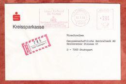 Einschreiben Reco, Absenderfreistempel, Sparkasse Landesbank.., 280 Pfg, Tuttlingen 1985 (70334) - Poststempel - Freistempel