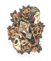 Adesivo Calcomania Sticker Tatoo Tatuaggio Sexy Beauty Donna Fiori Teschio Bara Dimensioni Cm 7x5,5 Circa Forma Segue Si - Adesivi