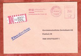 Einschreiben Reco, Absenderfreistempel, Raiffeisenbank Murr-Lauter, 280 Pfg, Sulzbach 1984 (70338) - Machine Stamps (ATM)