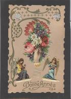 Themes Div-ref AA697- Carte Avec Decoupis -ajoutis - Decoupi  Fleurs - Main Tendue - Et Anges - Bonne Année - - Fantaisies