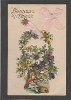 Themes Div-ref AA695- Carte Avec Decoupis -ajoutis - Decoupi  Fleurs - Veritables Paillettes - Dorures -bonne Année- - Fantaisies
