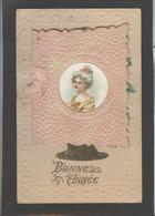 Themes Div-ref AA694- Carte Avec Decoupis -ajoutis - Decoupi  Fleurs -carte 2 Volets - Medaillon Femme -bonne Année - Fantaisies