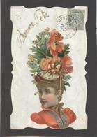 Themes Div-ref AA692- Carte Avec Decoupis -ajoutis - Decoupi  Femme - Bonne Fete - - Fantaisies