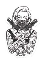 Adesivo Calcomania Sticker Tatoo Tatuaggio Sexy Beauty Donna Pistole Maschera Teschio Ali Dimensioni Cm 7,5x5 Circa Form - Adesivi