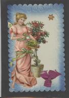 Themes Div-ref AA691- Carte Avec Decoupis -ajoutis - Decoupi  Femme Et Fleurs - Veritable Petit Ruban - - Fantaisies