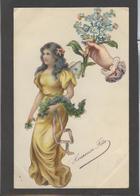 Themes Div-ref AA690- Carte Avec Decoupis -ajoutis - Decoupi  Femme Et Fleurs -main Tendue - Heureuse Fete - - Fantaisies
