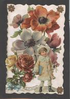 Themes Div-ref AA689- Carte Avec Decoupis -ajoutis - Decoupi  Fleurs Et Enfant - - Fantaisies