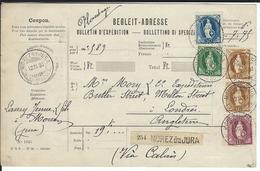 SBK 2x72A, 67C, 70C, 71 Begleitadresse Morez Du Jura (Frankreich) 12.11.93 Via Calais Nach London - Briefe U. Dokumente